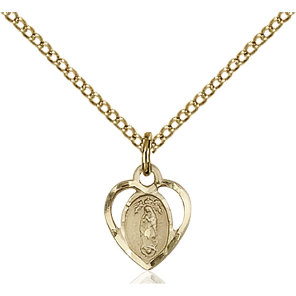 Gold Filled Our Lady of Guadalupe Pendant 3/8 x 3/8 inches with Gold Filled Lite Curb Chain