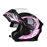 Motorcycle Helmet with Bluetooth 2 Visors Safety Helmet Flip Up Helmet For Adult (Bluetooth F, XL (59-61cm))