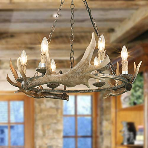 LOG BARN A03434 Antler Chandeliers, 6-Light Kitchen Island Light Fixture in Hand-Polished Poly and Rust Metal Finish