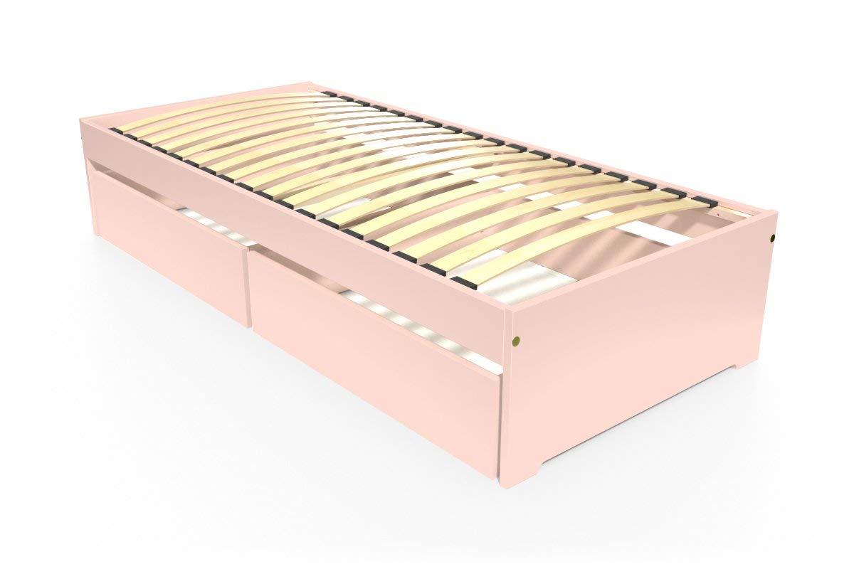 ABC MEUBLES - Einzelbett Malo 90x190 cm + Schubladen - TOPMALO90T - Pastellrosa, 90x190