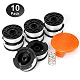 Trimmer Line Replacement Spools for Black & Decker Auto-Feed String Trimmers .065'' 10 Pack: 8 Spools + 1 Cap + 1 Spring