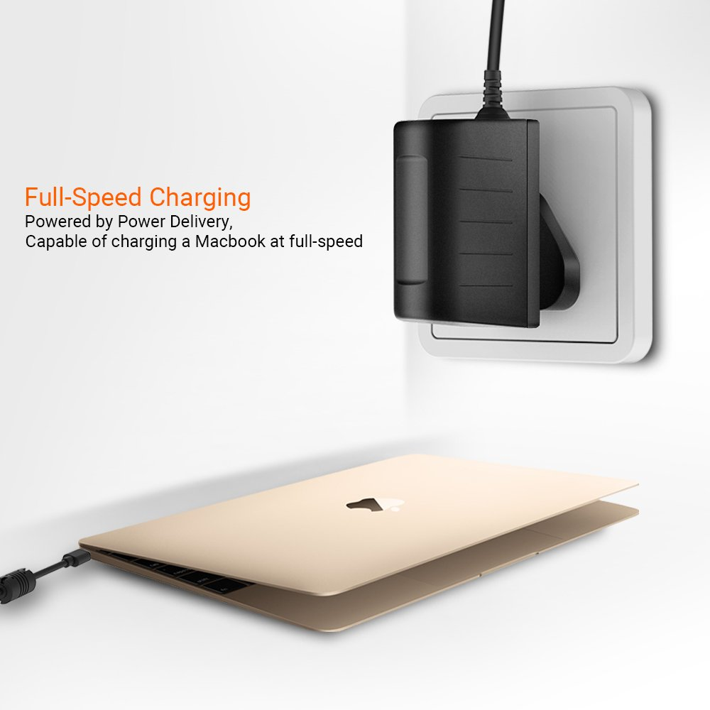 Type-C Mains Charger EasyAcc 30W USB C Wall Charger with Power Delivery and QC Fast Charging Technology for Samsung S8/8+ Wireless Charger, MacBook, Nintendo Switch