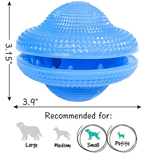 Dog Food Treat Dispenser Toys Flying Discs Shape Interactive Dog IQ Ball for Small Medium Dogs Chasing Chewing Playing Training (Blue, Flying Discs)