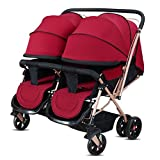 XHSP Portable Twins Baby Stroller Infant Newborn Foldable Umbrella Stroller Lightweight Baby Carriage,Blue