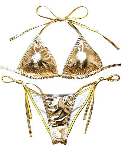 Gold Metallic Bikini Set in Australia - 1