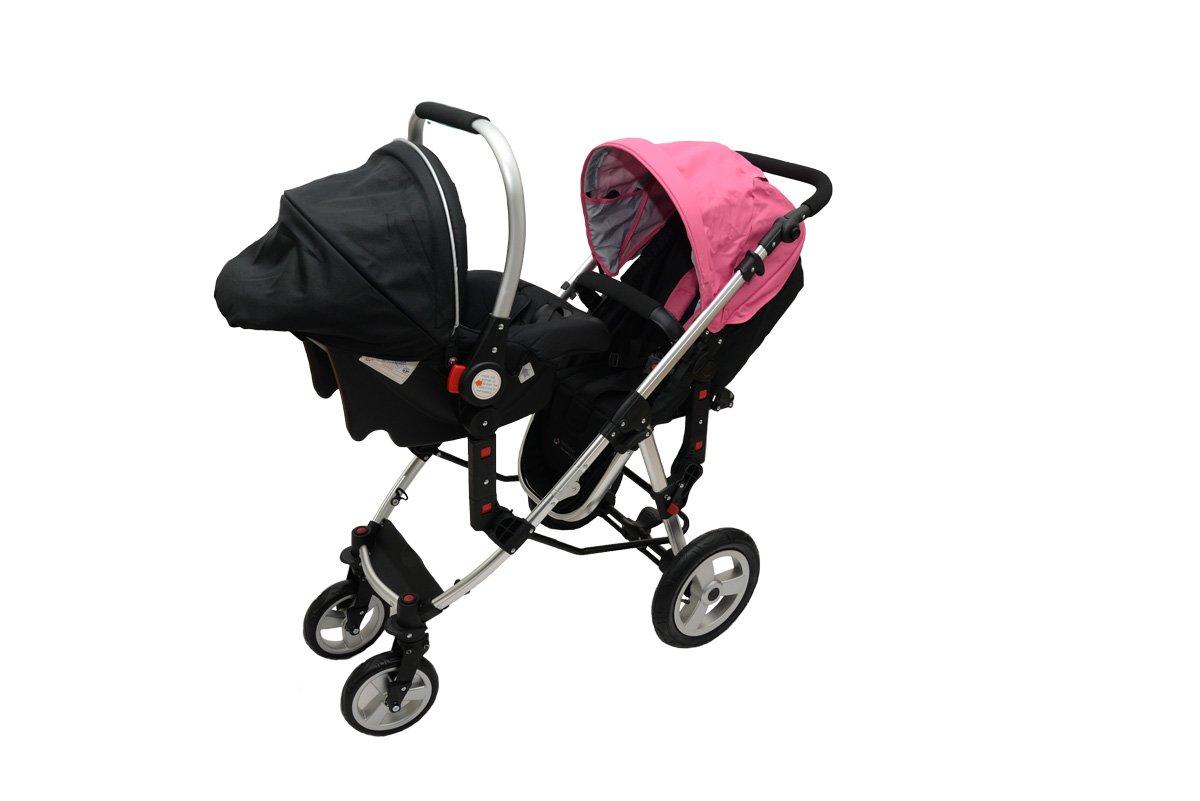 *BabyFiveStar GESCHWISTERWAGEN ZWILLINGSWAGEN KINDERWAGEN BUGGY NEU OVP (PINK/SCHWARZ) DER ABSOULUTE PREISKNÜLLER! ALLES IM PAKET FÜR NUR 379€ NE268