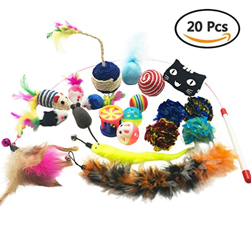 Cat Toys Assorted Pack 20 Pieces Contains Interactive Wand Teaser Wand Refill Ferret Toys Crinkle Balls Furry Mice Ball with Bell Catnip Toys Rattle Mouse,These Colorful Toys will Drive Your Cat Crazy