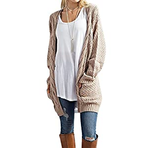 Imily Bela Women's Boho Long Sleeve Open Front Chunky Warm Cardigans Pointelle Pullover Sweater Blouses