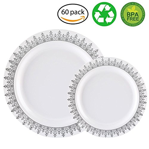 60PCS Heavyweight White with Silver Rim Wedding Party Plastic Plates,Disposable Plastic Plates,30-10.25inch Dinner Plates and 30-7.5inch Salad Plates -WDF (White/Silver Forest)