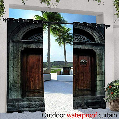 Glimpse Antique Pearl - Gothic Outdoor- Free Standing Outdoor Privacy Curtain Photo of Antique Aged Wooden Door of Dark Haunted Old House Gothic Style Night Theme for Front Porch Covered Patio Gazebo Dock Beach Home W108