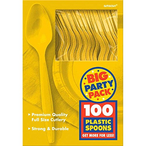 Amscan Big Party Pack 100 Count Mid Weight Plastic Spoons, Yellow AMI 43601.09