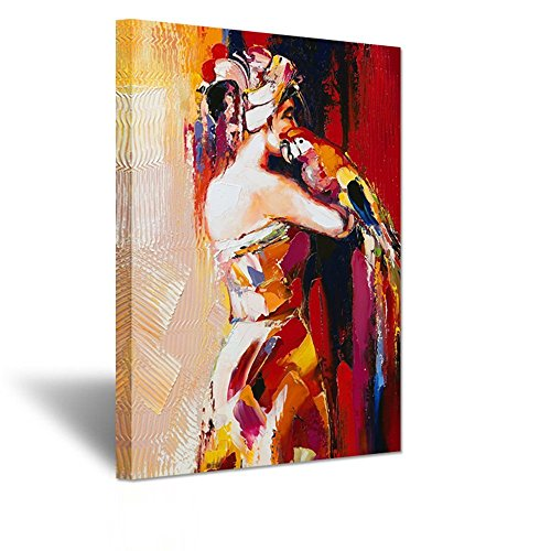 ude Woman Canvas Prints Naked Lady Back Figurative With Parrot Animal On Arms Paintings Print On Canvas Stretched and Framed Ready to Hang (24