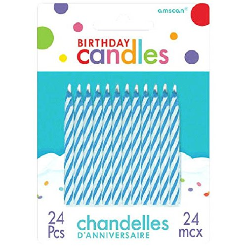 Blue Candy Stripe Spiral Birthday Candles | Pack of 24 | Party Supply