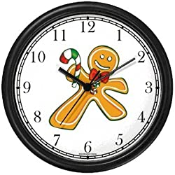 Ginger Bread Man with Candy Cane Christmas Theme Wall Clock by WatchBuddy Timepieces (Hunter Green Frame)