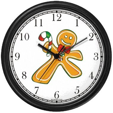 Christmas Theme Wall Clock - Ginger Bread Man with Candy Cane Christmas Theme Wall Clock by WatchBuddy Timepieces (Hunter Green Frame)