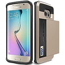 Galaxy S6 Edge Plus Case, KAMII Glide Pocket Stash Galaxy S6 Edge Plus Card Case [Shock Absorbent] with Cushion [Dual Layer Design] [Heavy Duty][Wallet] Slot Holder (Gold)