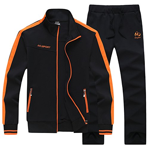 Men's Casual Jogging Full Zip Sports Jacket & Pants Tracksuit Sweat Suits Black by HENGAO