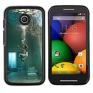 LECELL--Funda protectora / Cubierta / Piel For Motorola Moto E -- Sumérgete Hundimiento Melancolía Mujer Profundo --
