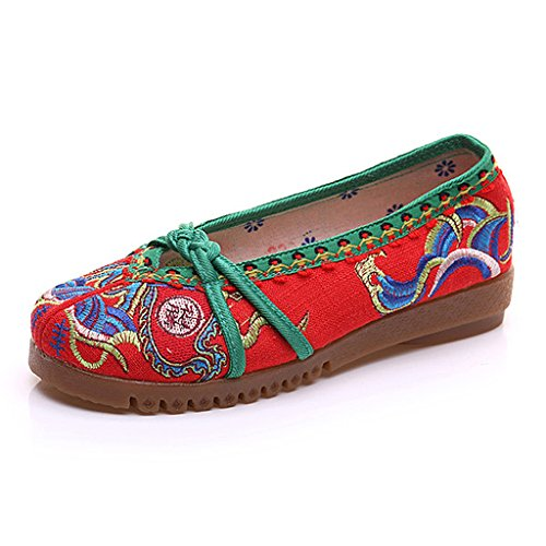 Women's Embroidered Shoes Fall National Style Dance Flat shoes ( Color : Red , Size : US:6.5\UK:5.5\EUR:38 )