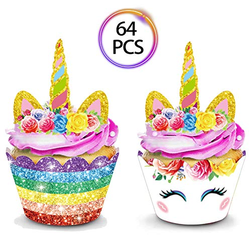 Glitter Cupcake Wrappers - QMZ 64pcs Unicorn Cupcake Toppers and Wrappers Double Sided for Kids Birthday Baby Shower Theme Party Decorations Supplies Set of 32