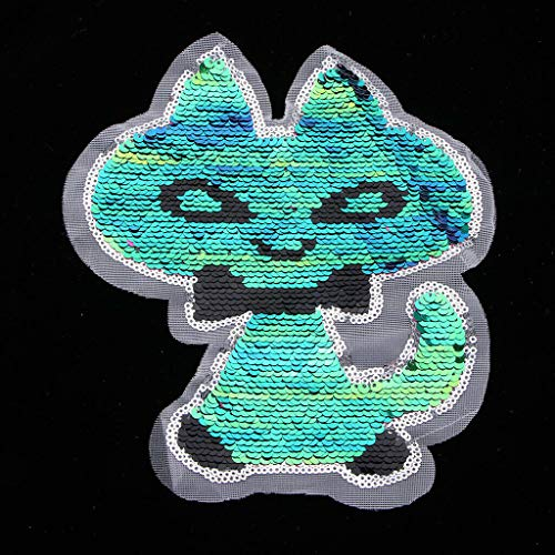 (Reversible Sequins Cartoon Patch Badge Iron on Applique DIY Sewing Craft)