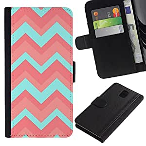 All Phone Most Case / Oferta Especial Cáscara Funda de cuero Monedero Cubierta de proteccion Caso / Wallet Case for Samsung Galaxy Note 3 III // Teal Pattern Pink Clean Light