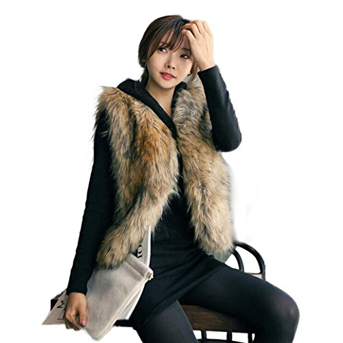 Kinghard Warm Fake fur vest Winter Women Coat Casual Waistcoat Jacket Faux Fur Long Shawl Faux Fur Wrap Cape Shawl for Women's Wedding Dresses and Ladies Party (S, Coffee) - Illegal Alien Mask