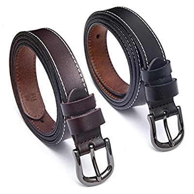 Set of 2 Women's Adjustable Skinny Genuine Leather Casual Belts for Women By HBY