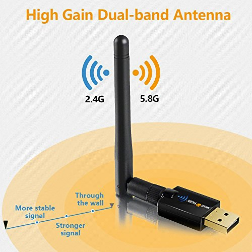 WISE TIGER Wifi Adapter Ac 600Mbps Usb Dual Band 5G/2.4G Wireless Network Lan Adapter with High Gain External Antenna for Windows XP, Win Vista,Win 7,Win 8.1, Win 10, Mac OS X 10.6-10.12 by WISE TIGER (Image #2)