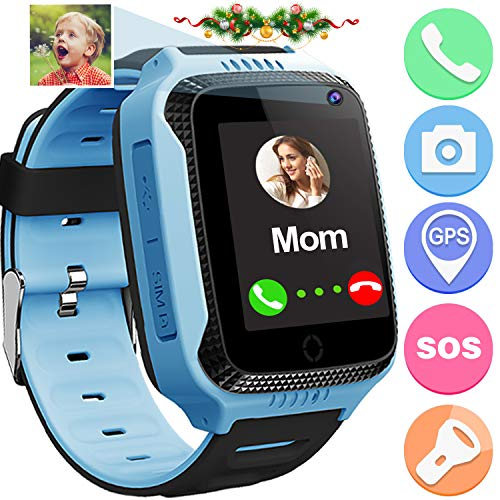 Kids Smart Watch Phone GPS Tracker for Girls Boys Fitness Tracker Pedometer Watches with Anti Lost SOS Alarm Clock Touch Camera Games Flashlight Wearable Phone Watch 2019 New Birthday Holiday Gifts