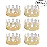 NUOLUX Gold Paper Crown Party Crown Hat Cap for Birthday Celebration Baby Shower Photo Props 12 Pack