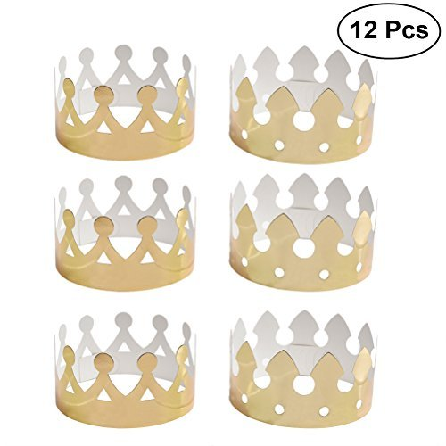 NUOLUX Gold Paper Crown Party Crown Hat Cap for Birthday Celebration Baby Shower Photo Props 12 (The King In Yellow Costume)
