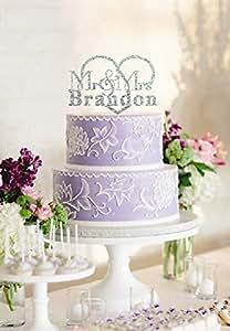 Adorno para tarta de boda decoración para tarta para nombre de Mr & Mrs pesoanlized
