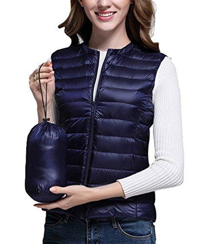 Slim with Round Zipper Outwear Down Jacket Neck Women's Vest Fit Gilet Jacket Navy Short Baymate Ow85X