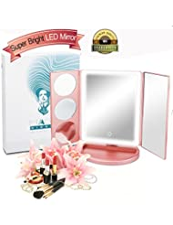 Makeup mirror,Vanity Mirror with 36 LED Lights, 10X/5X/3X Magnifying Led Makeup Mirror with Lights and Touch Screen,Dual Power Supply,180° Adjustable Rotation,Counter top Cosmetic Mirror (Gold)