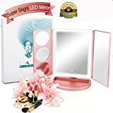 Lighted Vanity Tri-Fold Makeup Mirror, the Brightest and Most Natural 38 Led Mirror,10X/5X/3X/1X Magnifying Vanity Mirror for Males & Females on the Early Morning or Travel makeup. Review