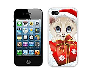 Special Custom Made Christmas Cat White iPhone 4 4S Case 22