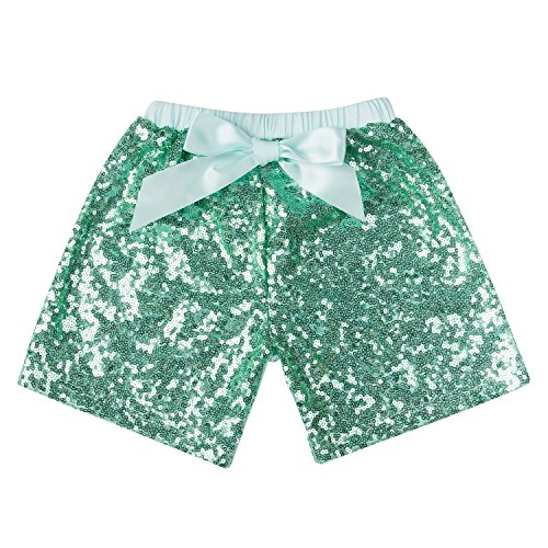 (Messy Code Baby Girls Shorts Toddlers Short Sequin Pants Newborn Sparkle Shorts with Bow , Mint, L(2-3Y))