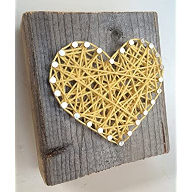 Rustic yellow string art heart block - A unique gift for: Weddings, Anniversaries, Valentine's Day, Birthdays, Christmas, house warming and new babies.