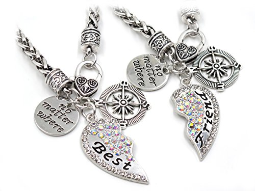 Double Puffed Hearts (Elefan Cornelia RainBow Crystal Pendant Bracelet Set For Best Friends Double Bracelets (2 PCS))