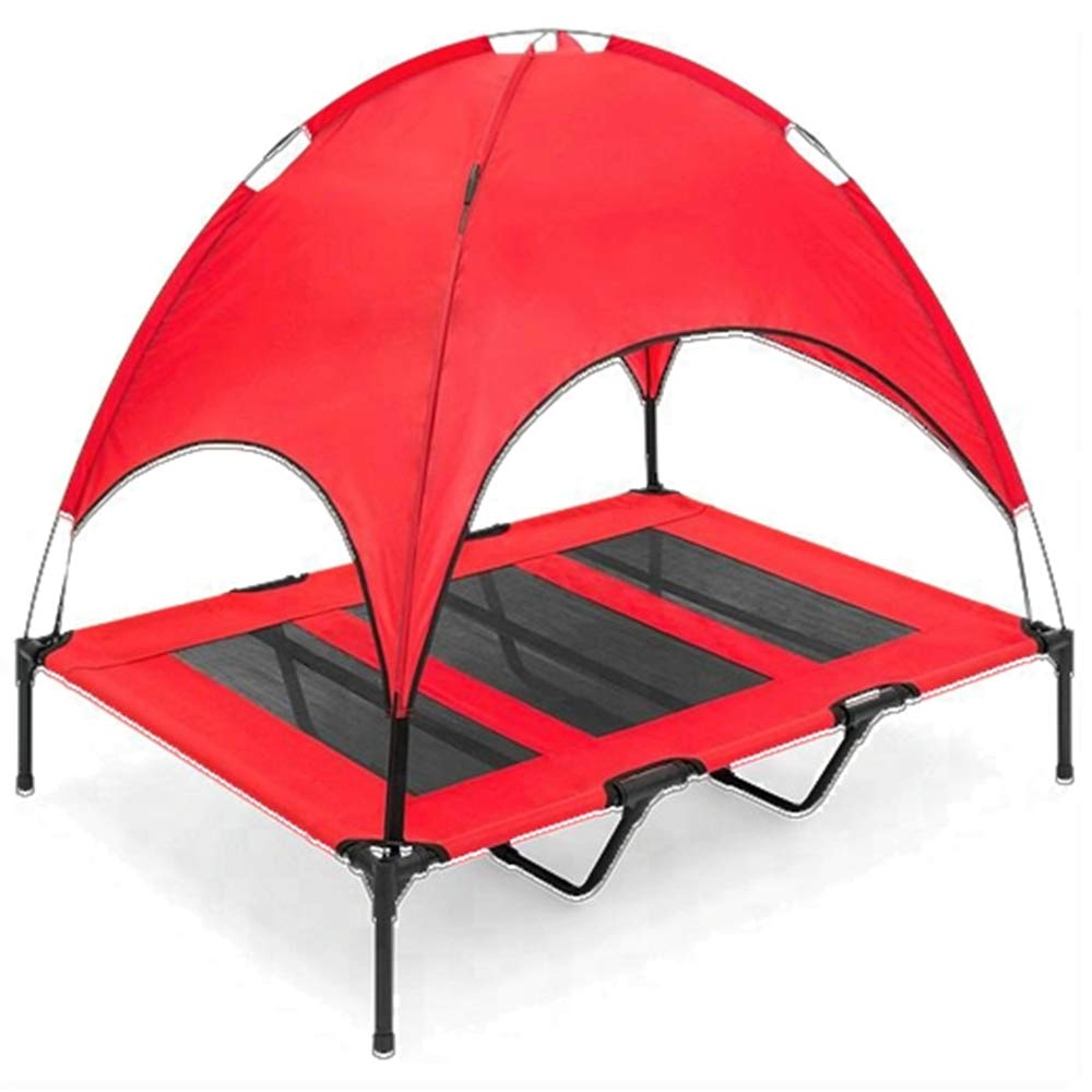 Red XLarge red XLarge iNap Elevated Pet Dog Cot Bed with Canopy Orthopedic Steel Frame Design (XLarge, Red)