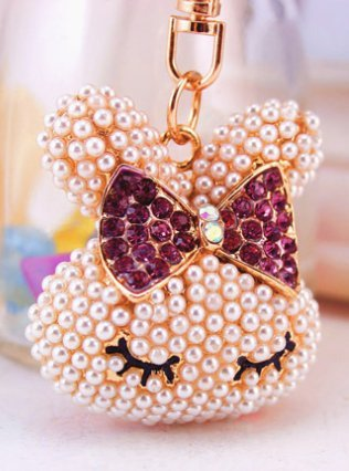 Beautiful 3D PURPLE bow-knot Pearl Rabbit keychain Car key ring Handbag Purse Clip Comes with Wooden Textured Charm as Free Gift (Rhinestone Playboy Rabbit)