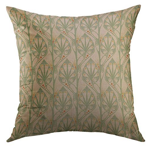 Mugod Decorative Throw Pillow Cover Geometric Retro Nouveau Abstract Floral Curve Detail Home Decor Pillow case 18x18 Inch