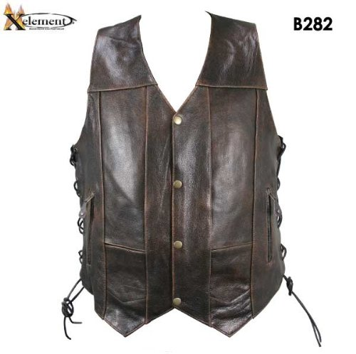 Xelement B282 Men's Distressed Brown Retro 10 Pocket Buffalo Leather Motorcycle Vest - Brown / Small
