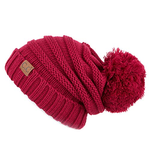 CC  Exclusives Unisex Oversized Slouchy Beanie with Pom (HAT-100POM) (Hot Pink)