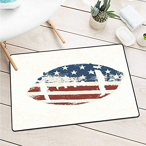 Custom&blanket Sports Inlet Outdoor Door Mat Grunge American Flag Themed Stitched Rugby Ball Vintage Design Football Theme Door Mat is Odorless and Durable (W31.5 X L47.2 inch,Cream Blue Red)