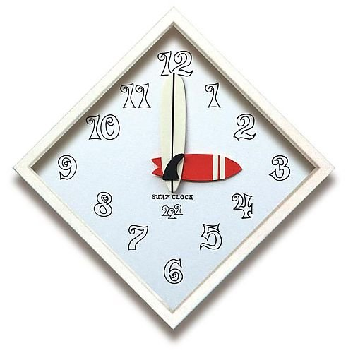 (アートクロック)Surf Clock Series Team Surf Design 5 Clock White B01E8DZFXQ