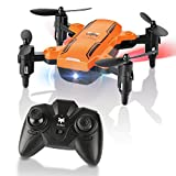 Fordable RC Mini Drone, FuriBee H815 Remote Control Quadcopter Headless Mode RC Drone with LED Night Light 6-Axis Gyro Helicopter -Altitude Hold, One Key Return Flying UFO (Orange)
