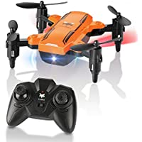 Foldable Mini Drone, FuriBee H815 Remote Control Quadcopter RC Drone with LED Night Light 6-Axis Gyro Helicopter -Altitude Hold, One Key Return Flying UFO (Orange)
