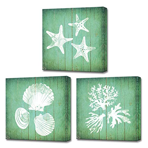LoveHouse Mint Green Wall Art 3 Panels Sea Animal Seashell Coral Starfish Silhouette Abstract Painting Decor Mordern Ocean Artwork Pictures Framed for Bathroom Living Room Home Decor 12
